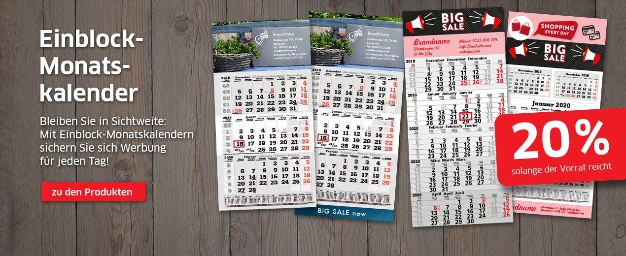 Schlussverkauf bei Einblock-Monatskalendern!