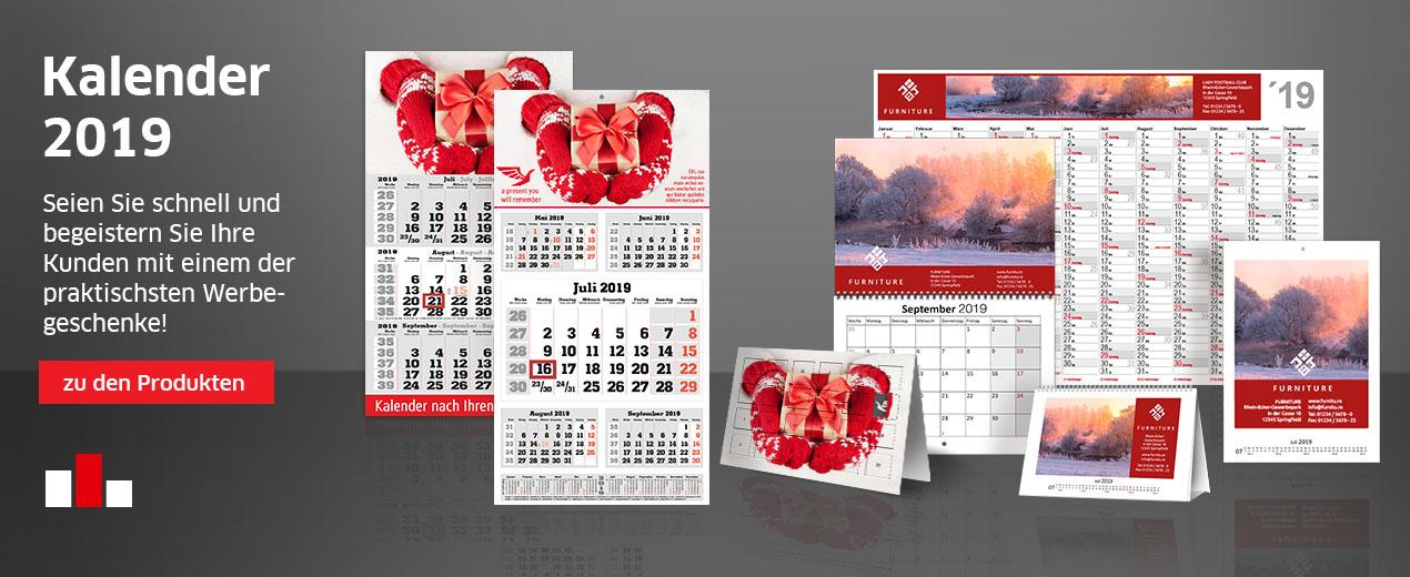 rechtzeitig Kalender für 2019 bestellen